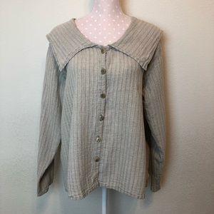 Flax linen top /shirt sailor neckline